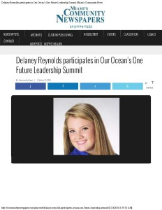 Delaney Reynolds participates in Our Ocean's One Future Leadership Summit Mi_Page_1