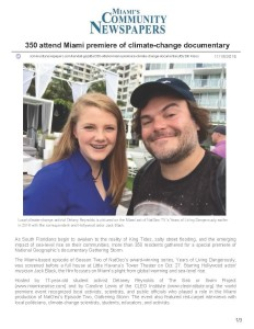 Kendall Gazette - 350 attend Miami premiere of climate-change documentary