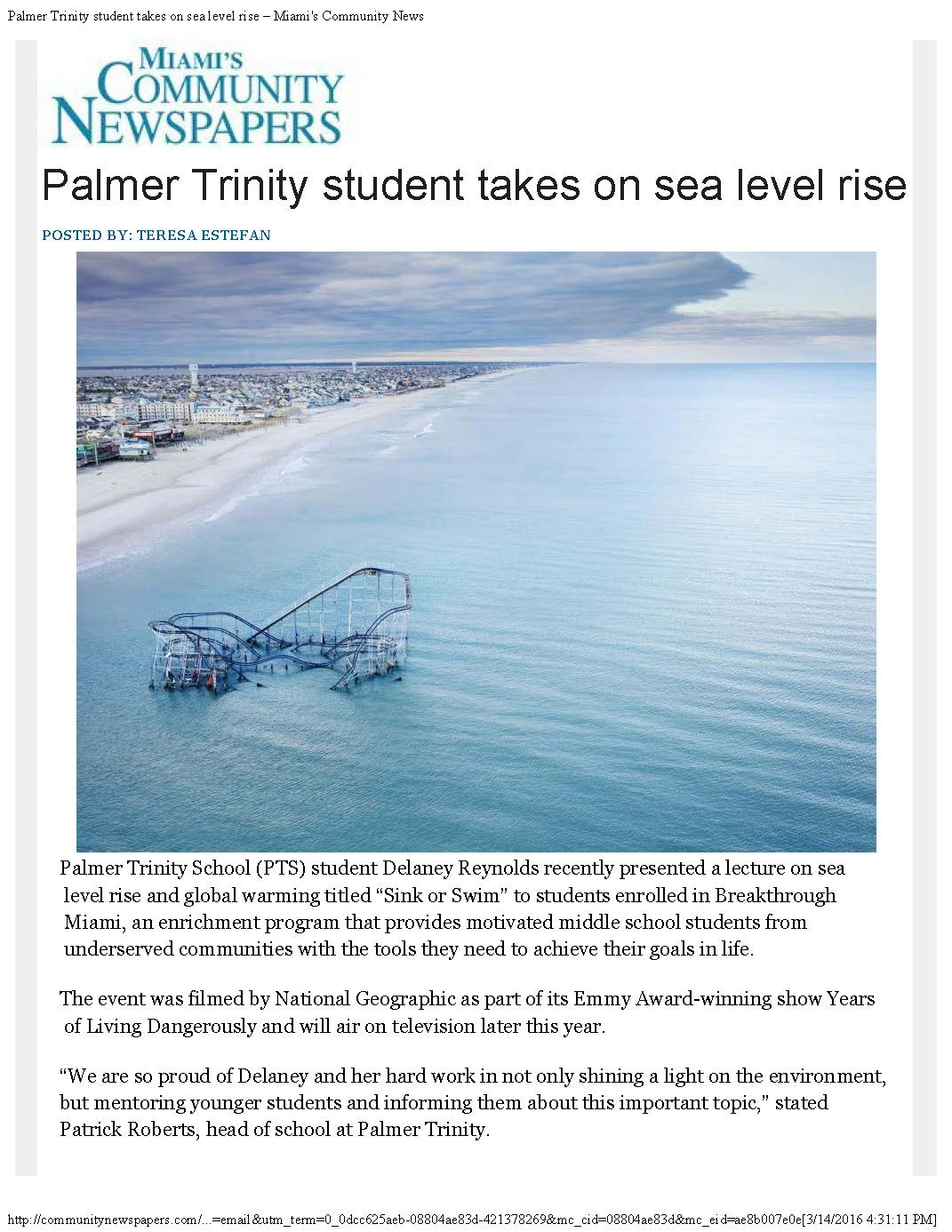 Palmer Trinity student takes on sea level rise – Miami's Community News